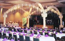 Dance floor decorated with balloons